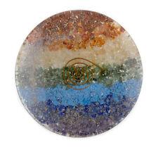 Disco redondo orgonita con minerales naturales 7 chakras amatista lapislazuli