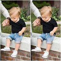 Toddler Baby Boy Summer Top T-shirt & Shorts Short Jeans Outfits Clothing Set