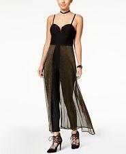 Material Girl Size XL Jumpsuit Split-Front Metallic-Mesh Womens Jumpsuit NEW $64