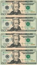 Uncut sheet of $20 twenty dollar bills CU US un-cut money x4 Uncut US Currency!