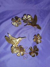 Vintage Pr Homco Home Interior Gold Metal Hummingbirds & Flowers Wall Plaques L3