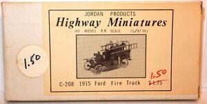 HO SCALE JORDAN HIGHWAY MINIATURES 1915 FORD FIRE TRUCK KIT PLASTIC NOS