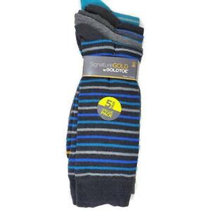 Signature Gold Crew Socks 5 Pair Striped Goldtoe Large 10-13 Shoe Size 6-12
