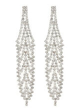CLIP ON EARRINGS - silver chandelier earring with clear crystals - Carew S