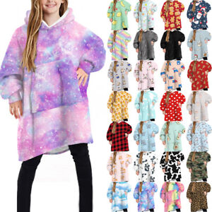 Kid Oversized Hoodie Blanket Plush Blanket Hoodie Sweatshirt Fleece Blanket