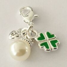 SILVER & GREEN 4 LEAF CLOVER +SMALL PEARL & HEART CLIP ON CHARM -  SILVER PLATE