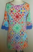 Judith March Lined Colorful Blue Bell Lace Sleeves Shift Summer Dress Small
