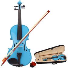 More details for sky blue maple 4/4 acoustic violin case bow rosin strings tuner shoulder rest uk
