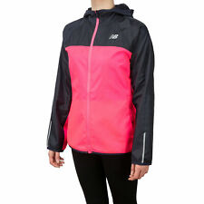 New Balance Womens Windcheater 2.0 Hooded Running Jacket Top Black Pink Sports