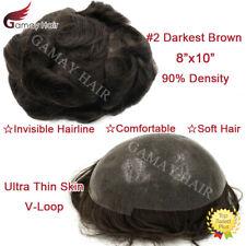 Super Thin Skin Mens Toupee Pu Human Hair System Replacement 8x10 Dark Brown #2