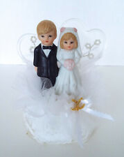 "Vintage Wedding Cake Topper 6"" Porcelain Bride Groom Lace Tuel Acrylic Hearts"