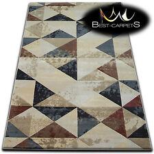 Novelty Pattern Modern Rug 'JASMIN DROP' triangles beige Thick Soft Rugs, Silk