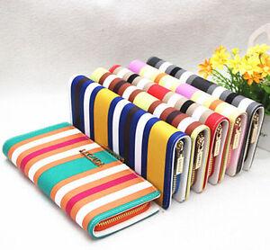 Beautiful Lady women PU Stripe Leather Long Cluth wallet card coin Purse Handbag