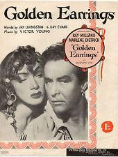 Ray Milland & Marlene Dietrich - Golden Earrings Music Sheet 1946