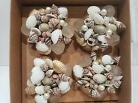 Coastal Collection Nautical Beach Seashells Napkin Rings Home Decor Set of 4