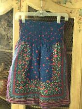 F21 FOREVER 21 blue pink ROSE FLOWER print SKIRT stripes S SMALL waist 24