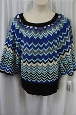 NY Collection Sweater Top Sz XL Blue Multi Color Knitted Casual Sweater Shirt