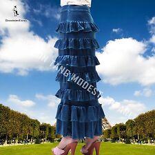 SHARON TANG Modest Apparel Stretch Velvet Layer Ruffles Skirt MST124081009-19
