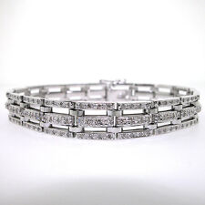 14k White Gold Men's Triple Row Diamond Bracelet 3.18 CTS- Mens Diamond Bracelet