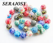 Fimo Perlen kunterbunt 12mm 34 Stück SERAJOSY Polymer Clay Beads