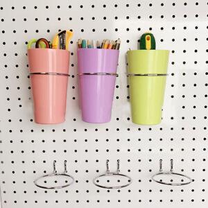 3X Pegboard Hooks Garage Storage Box Tank Cup Holder Bins Shelf Hanger Accessory