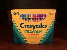 Vintage 1990 Box of 64 Crayola Crayons w/ Built-In Sharpener - UNUSED