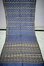 Vintage Golden Pure Tussar Silk Saree Traditional Embroidered Sari Wedding Wear