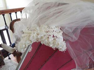 WHITE JULIET CAP HEADPIECE BRIDAL WEDDING VEIL 3 TIERED PEARLS BEADS FLOWERS EX