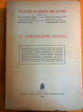 LIBRO TRATTATO DI DIRITTO DEL LAVORO - LE ASSICURAZIONI SOCIALI - MILANI 1954
