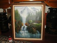 Superb C Tommy? Signed Oil Painting On Canvas-Snow Mountains W/Waterfall-Framed
