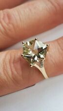 9ct GOLD WOBITO ALPINE CUT PRASIOLITE & DIAMOND RING SIZE P/Q