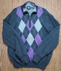 FJ Footjoy  Wool Argyle 1/4 Zip Lined Sweater Gray Purple Size XL