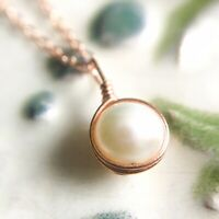 Dainty White Pearl Necklace Sterling Silver 14k Gold/Rose Gold Tiny Simple June