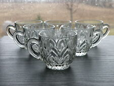 Set of 6 Vintage Jeannette Glass Clear FEATHER Punch Coffee Cups