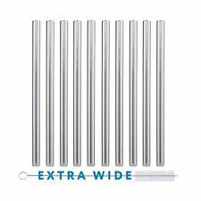 10 Pack Boba Straws In Stainless Steel - Reusable Metal Straws Best For Drinking