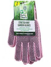 2 Pairs Super Comfort Stretch Garden Gardener Pink Gloves With Dot Grip