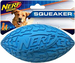 Nerf Dog Tire Football Toy Interactive Squeaker Lightweight Durable M~L Breeds
