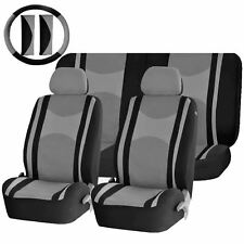 GRAY & BLACK MESH NET SEAT COVERS AIRBAG READY SPLIT BENCH 9PC SET FOR CARS 1444