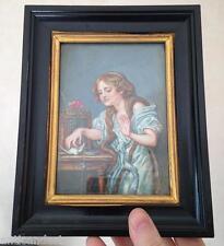 """Cadre Miniature Scéne Greuze """"L'oiseau mort"""" signé Brilli"""