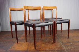 Vintage Stuhl Stühle 5x Palisander & Leder Danish Lübke Retro Mid-Century 60er