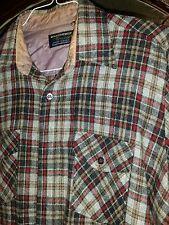 Vtg Mens LARGE  WOOL O' THE WEST L/S Plaid Wool Blend Button Shirt.  . cb4