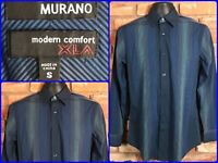 Murano XLA Modern Comfort Blue Striped L/S Btn Front 2 Ply Dress Shirt Mens Sm
