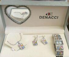 Denacci Women's Watch gift set: Watch, Necklace, Earrings Silver Multi-color Gem