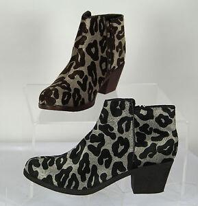 Womens Black Grey Brown Leopard Print Ladies Animal Print Zip Up Boots Size 10