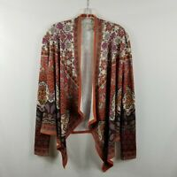 Flying Tomato Open Waterfall Cardigan Orange Ivory Mixed Print Women's Size M