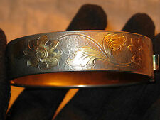 Antique VICTORIAN ETCHED HINGED BRACELET Silver & Gold Tone FLORAL Engravings