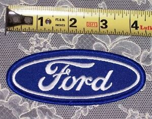 "NEW 4 1/2"" x 1 7/8"" FORD CLASSIC BLUE OVAL EMBROIDERED IRON ON OR SEW ON PATCH!"