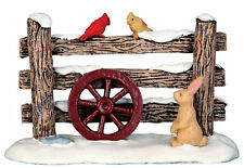 Lemax Decoration 'Rustic Fence', Christmas Cake Decorating Figure, Rabbit Birds