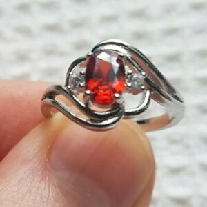 Womans Size N 1/2. Red Ruby & White Topaz 925 Silver Cocktail Ring