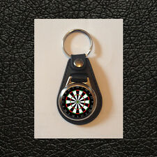 NOVELTY DARTBOARD - FAUX LEATHER KEYRING - GREAT GIFT IDEA - FREE POST